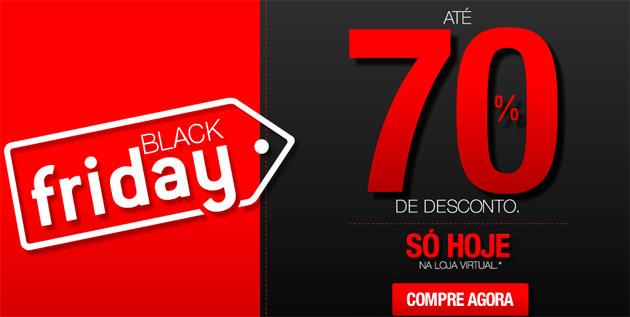 black friday 70% de desconto fundo preto e vermelho