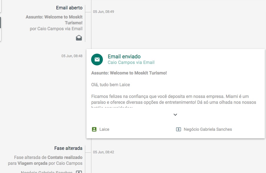 Envio de e-mail atráves do CRM